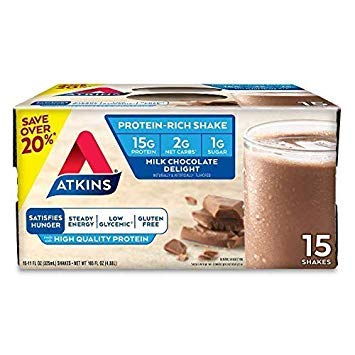 Atkins Ready to Drink Protein-Rich Shake, Milk Chocolate Delight, Gluten Free (30 Count) by Atkins