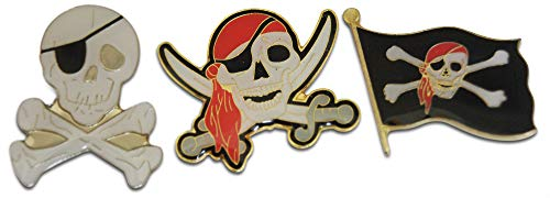 Jolly Roger Pirate Skull & Crossbone 3-Piece Lapel Pin or Hat Pin & Tie Tack Set with Clutch Back by Novel Merk - Pin Crossbones