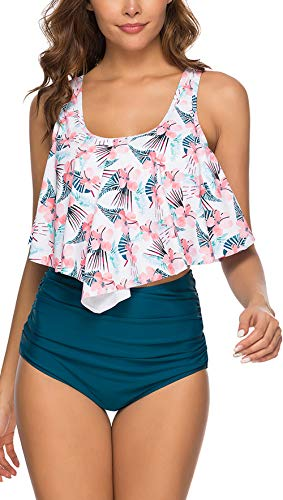 BTPEIHTD Bikini Swimsuit for Women High Waisted Swimsuits Tummy Control Two Piece Tankini Ruffled Top with Swim Bottom Bathing Suits First Love Pink XXL (High Top Swim Suits Women)
