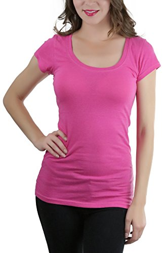 ToBeInStyle Women's Short Sleeve Scoop Neck T-Shirt - H Pink - (Ladies Scoop Neck Tee)