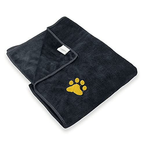 Dog Towel Pet Towel Super Absorbent Paw Pattern Soft Quick-Drying Suitable for Dog Bathing Grooming Travel Beach Large Size Dark Grey 39.37 x19.69in
