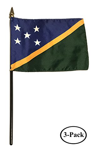 - Small 4 X 6 Inches Mini 4x6 inches Miniature Desk & Table Flag Banner with Polyester Stick - Asia & Africa GRP 4 (3-Pack, Country: Solomon Islands)