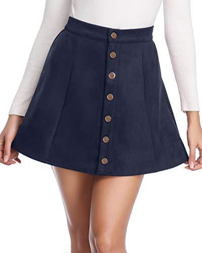 - fuinloth Women's Faux Suede Skirt Button Closure A-Line High Wasit Mini Short Skirt 2019 Navy