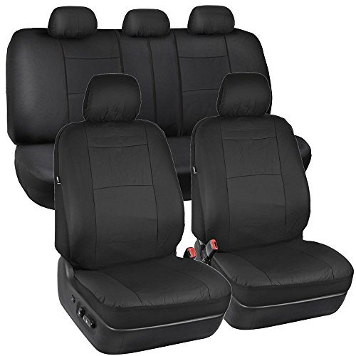 Solid Black Synthetic Leather Seat Covers for Car SUV Auto Two Tone Style (Honda Civic 2012 Seat Covers compare prices)