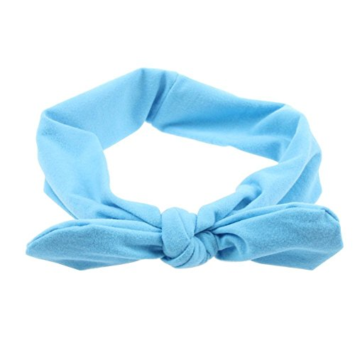 Pop Your Dream Vintage Adults Elastic Headband Cute Bunny Ears Bow Stylish Hairband Twisted Hair Decor Accessory Sky Blue