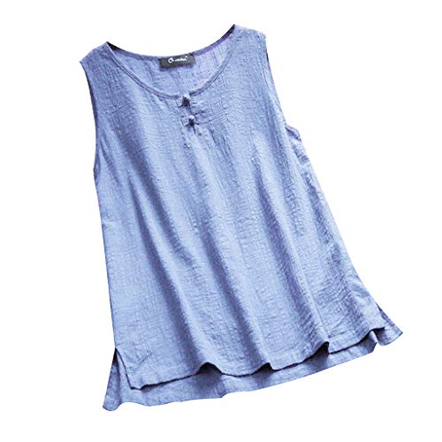 kaifongfu Summer for Ladies Tops, Women O-Neck Button Pure Color Plus Size Vintage Sleeveless Vest Blouse(Sky -