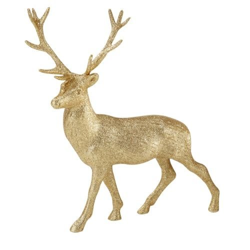Party Porcelain Party Porcelain Glitter Reindeer, Gold (Reindeer Glitter Decorations)