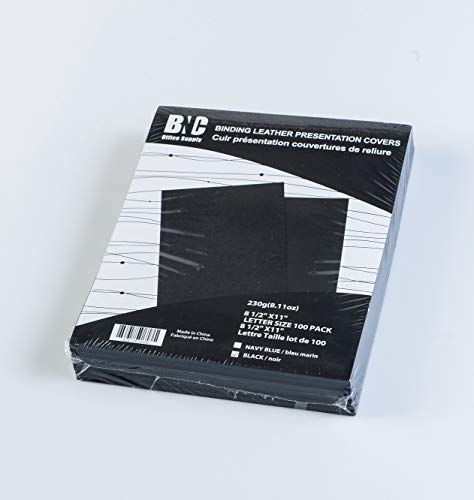 BNC Leather Texture Paper Presentation Covers Pack of 100, Black Color, Letter ()
