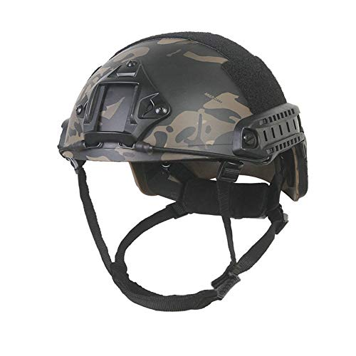 EMERSONGEAR Tactical Adjustable Fast Helmet,MH Style Helmet with Side Rails and NVG Mount,Fast MICH Ballistic Helmet for Airsoft Paintball Hunting Shooting Outdoor Sports (Multicam Black)
