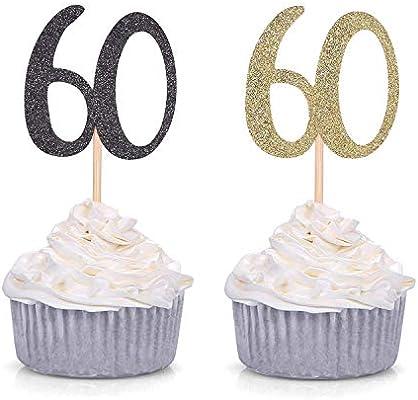 Amazon.com: 24 ct negro con purpurina número 60 Cupcake ...