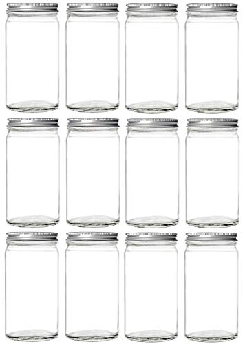 Nakpunar 12 pcs 14 oz Glass Mason Jars with Silver Pe Foam Lined Lids (14 oz, -