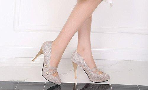 MissSaSa Damen elegant high heel Pointed Toe Pumps mit Riemchen Gold(Pailletten)