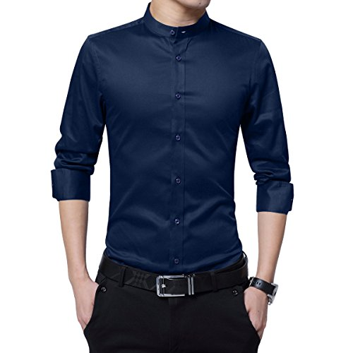 Boyland Men's Dress Shirt Banded Collar Long Sleeve Slim Fit Tuxedo Shirt Cotton Navy Blue