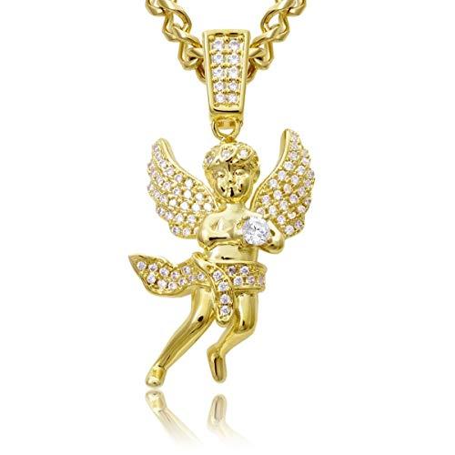 18k Dubai Premium Angel Cherub Pendant Diamond and Gold