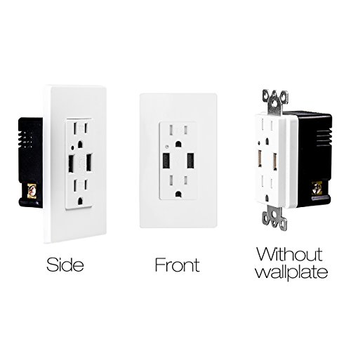 TOPELE High Speed USB Charger Outlet, 4.2a USB Wall Charger with 15A Tamper-Resistant Duplex Receptacle, Child Proof Safety, Wall Plates Included, UL Listed, White by TOPELE (Image #7)