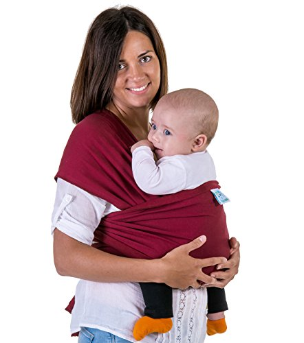 Eco Cub Baby Sling Wrap for Pain-free Carrying Experience | Multiple Colors | Extra Soft and Lightweight Cloth for Mamas & Newborns | Classic Original Cotton Fabric | Dark Red