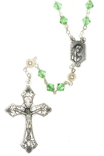August Rosary (Catholic Prayer Rosary made with Peridot Green and White Pearlized Swarovski Crystals (August))