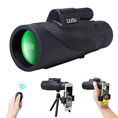 LEXSO Monocular Telescope,12x50 HD BAK4 Prism Waterproof High Power Monocular with Phone Photography Adapter and Wireless Remote Control,Perfect for Bird Watching, Camping, Hiking, Match