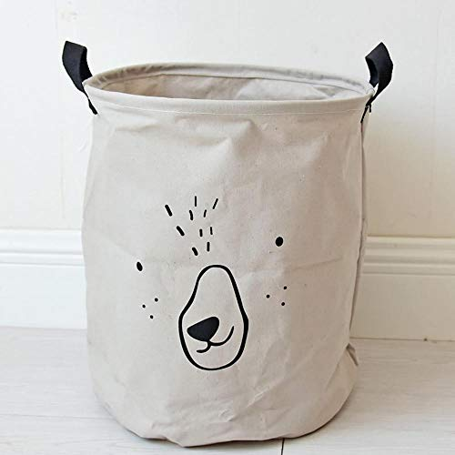 Ludage Home fabric Storage Box Dirty clothes bucket animal expression dirty clothes basket storage Barrel Cotton Hemp Storage Barrel by Ludage