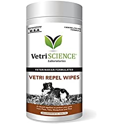 VetriScience Laboratories Vetri Repel Wipes, Natural Flea and Tick Repellant for Cats and Dogs