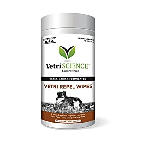 VetriScience Laboratories Vetri Repel Wipes, Natural Flea and Tick Repellent for Cats and Dogs, 60 Wipes 4