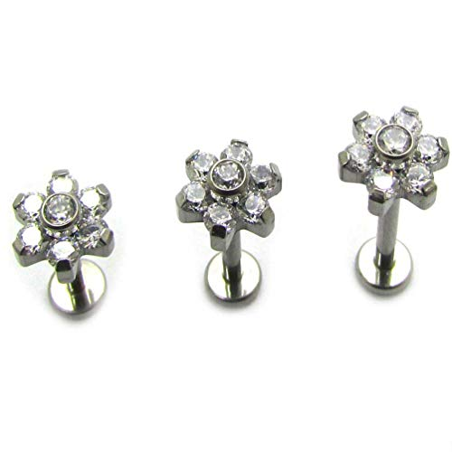 Labret Prong - Newkeeps-labret 16G G23 Titanium Internal Threaded Tragus Helix Earring With Prong Setting Flower CZ Labret Studs