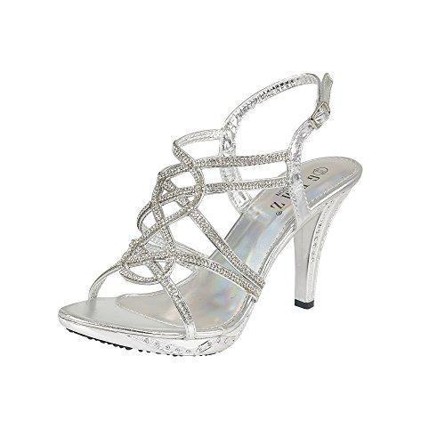 GEMZ London Frauen Hochzeit Diamante High Heels Abend Prom Party Schuhe Größe, [Silber], [UK 4 / EU 37]