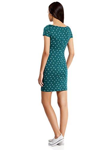oodji Ultra Mujer Vestido de Punto Básico Verde (7410O)