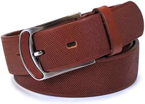 Mens Real Genuine Leather Belt Black Brown White 1.5 Wide S-XL Casual Jeans CA2