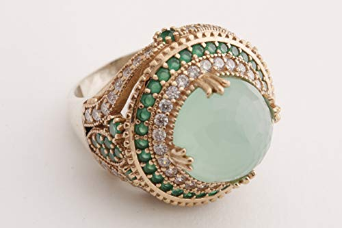 Ottoman Collection Authentic Model Turkish Handmade Jewelry Round Shape Aquamarine and Round Cut Emerald Topaz 925 Sterling Silver Ring Size All