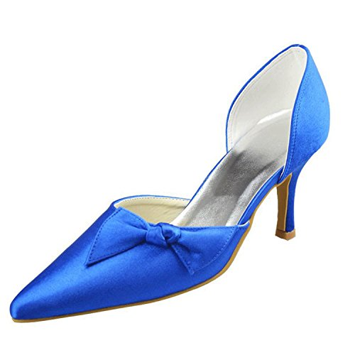 Kevin Party Fashion Blue Pointed MZ1193 Pumps Prom Shoes Satin Wedding Toe Women's Bridal Formal Evening rUqrxawHS