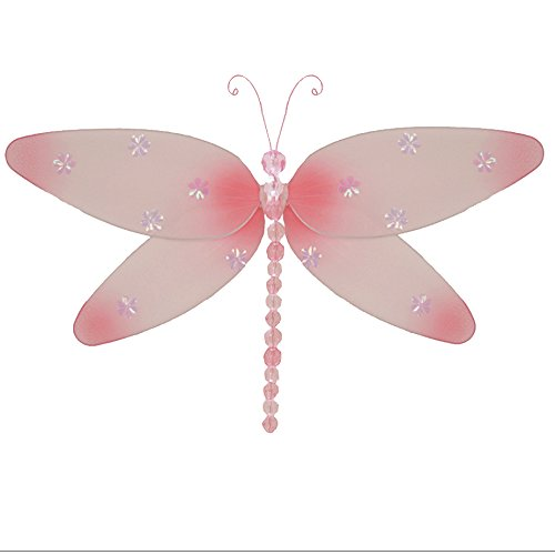 """Hanging Dragonfly Small 7"""" Pink Sparkle Nylon Mesh Dragonflies Decorations Decorate Baby Nursery Bedroom Girls Room Ceiling Wall Decor Wedding Birthday Party Baby Shower Bathroom Kid Child 3D Art"""