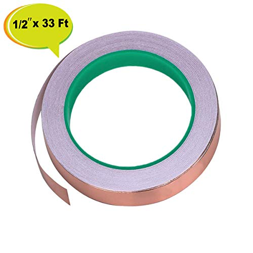 Copper Foil Tape 1/2 Inch x 33 Feet - Double Sided Conductive Adhesive for Guitar EMI Shielding, Paper Circuits, Stained Glass, Slug Repellent, Electrical Repairs, Grounding -1/2 Inch