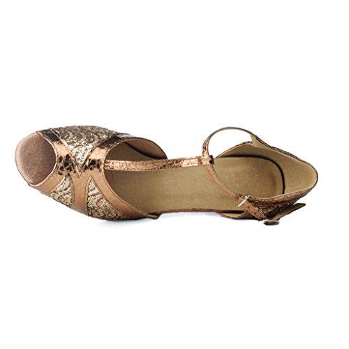 """Jig a sandalias Foo Fighters Open-toe Latina Salsa Tango salón de baile zapatos de baile para las mujeres con 2.2""""talón marrón"""