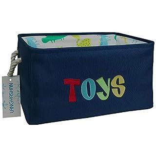 Rectangular Storage Basket Collapse Canvas Fabric Storage Bin with Handles for Organizing Home/Kitchen/Kids Toy/Office/Closet/Shelf Baskets (Navy Toys)