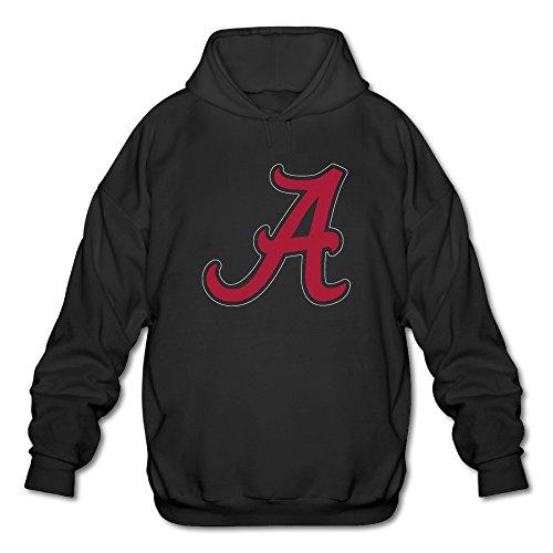 PHOEB Mens Sportswear Drawstring Hoodies Outwear Jacket,Alabama Crimson Tide Football Black XX-Large