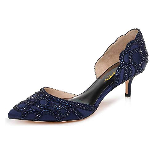 XYD Women D'Orsay Wedding Pumps Pointed Toe Low Kitten Heels Slip On Rhinestones Bridal Shoes Size 11 Navy Blue