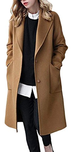 FashionRun Women's Overcoats Wool and Warm Travel Safari Walker Pea Coat Camel