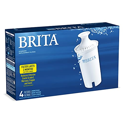 Brita Standard Water Filter, Standard Replacement Filters for Pitchers and Dispensers, BPA Free, 4 Count