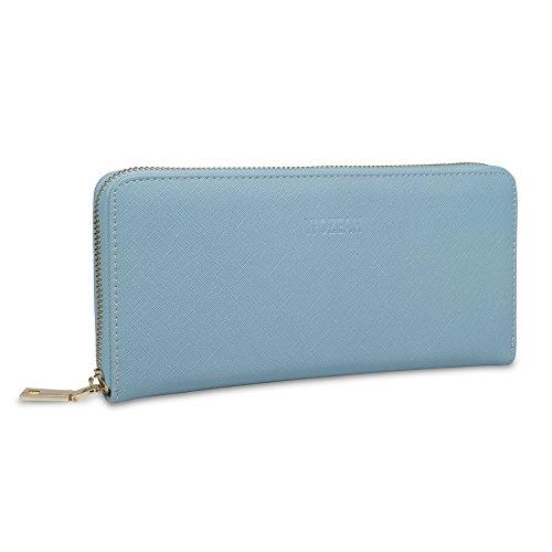 WOZEAH Women's RFID Blocking PU Leather Zip Around Wallet Clutch Large Travel Purse (blue)
