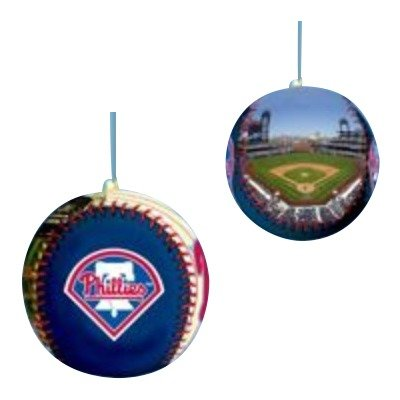 Phillies Baseball Leather Philadelphia (Kurt Adler Philadelphia Phillies Leather Printed Baseball Ornament)