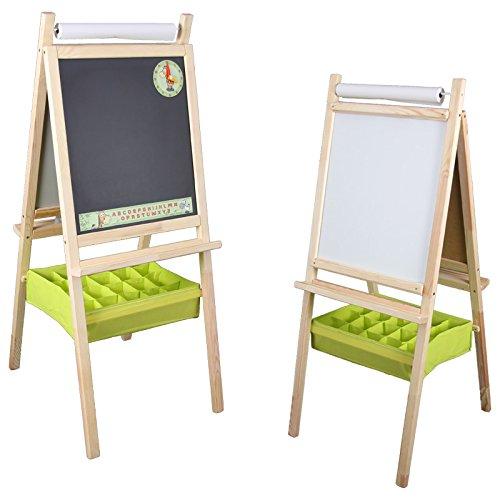 Standkindertafel 110x45cm Papierrolle Korb Standtafel Kindertafel Magnettafel Maltafel (grüner Korb)