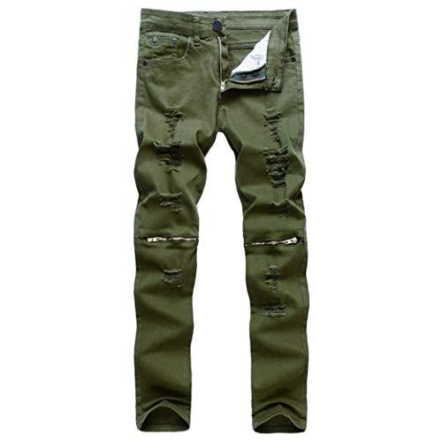 Vintage A Estilo Strappati Elasticizzati Moto Nero Uomo Pantaloni Especial Casual Chiusura Jeans Slim Fit Grün Streetwear R Da Distrutti Denim Ginocchio FxAw8vTx