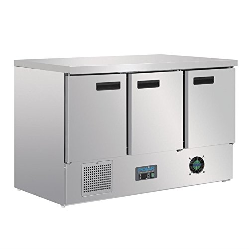4-türig Edelstahl Gastronomie Polar Arbeitstisch mit Kühlschrank Edelstahl