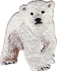 Polar Bear Patch (Animal Polar Bear Cub Embroidered Iron On Applique Patch)
