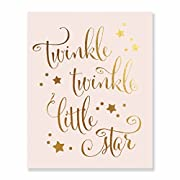 Twinkle Twinkle Little Star Gold Foil Decor Nursery Wall Art Print Pink Poster 8 inches x 10 inches B28