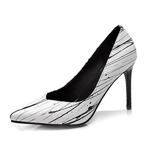 Talon Haut Couleur Taille Pointé Ont l'europe HJHY Été Mince Confortable États Chaussures Unis LGLFRXZ Les et Femmes Sexy Printemps Blanc Blanc Chaussures et 36 des Les FTafgx1q