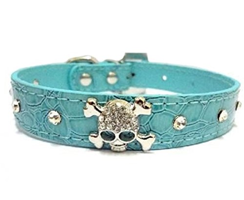 1 Set Crystal Skulls Rhinestone Dog Collar Small Pet Puppy Animal PU Leather Soft Elastic Bow Bell Tag First-class Popular Large Wide Reflective Safety Breakaway Training Camo Kitten Collars, Type-03 ()