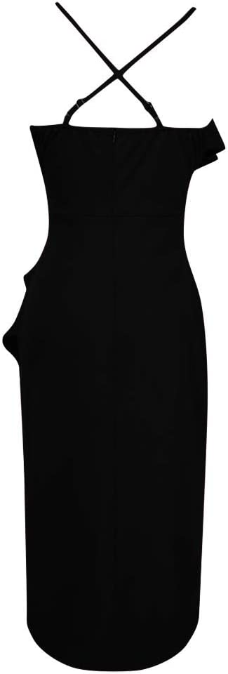 ZEZKT Bandeau Kleid Damska Elegant Frauen Maxikleid Boho Partykleid Ärmellos Kalte Schulter Cocktailkleid Mode Freizeit Sommerkleid Färben Abendkleider Urlaub Strandkleid: Odzież