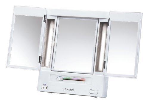 Jerdon JGL9W Tabletop Tri-Fold Two-Sided Lighted Makeup Mirror